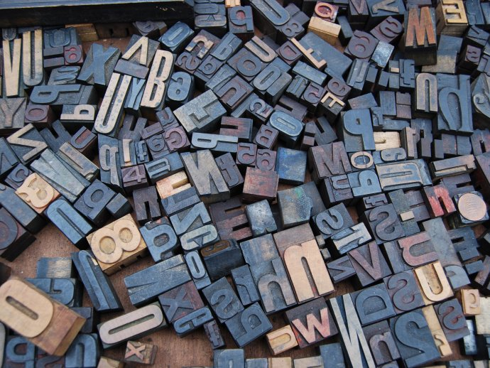 Photo of assorted printing press letters