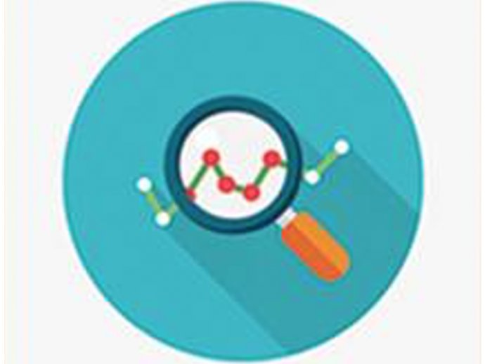 Infographic design with a magnifying glass over a small graph