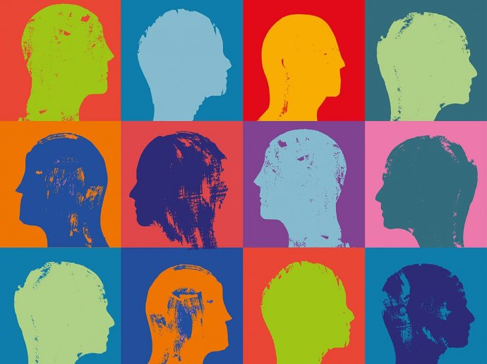 Drawing of colourful heads in a colour block grid