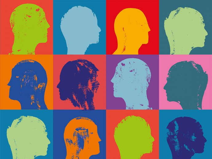Colourful picture of squares with different coloured heads in