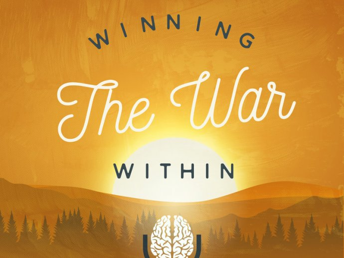 """Illustration from the first page of Sam's website, with text saying """"winning the war within"""""""