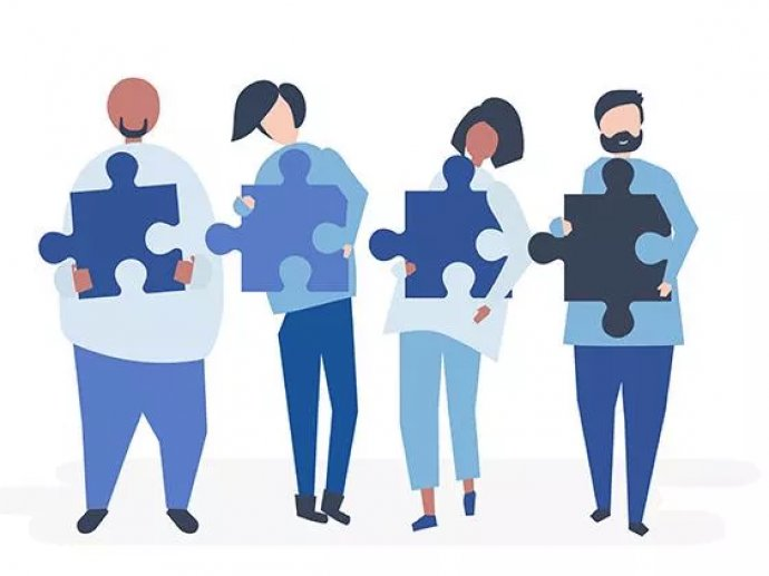 Graphic artwork of four people holding jigsaw pieces