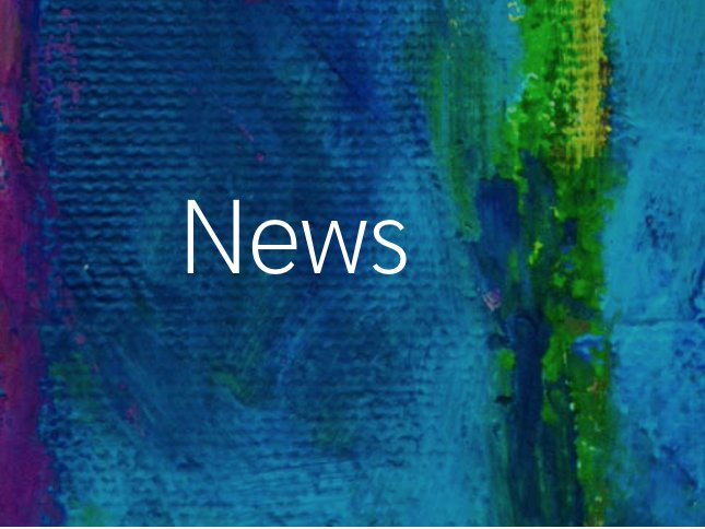Text saying news on a blue paint background