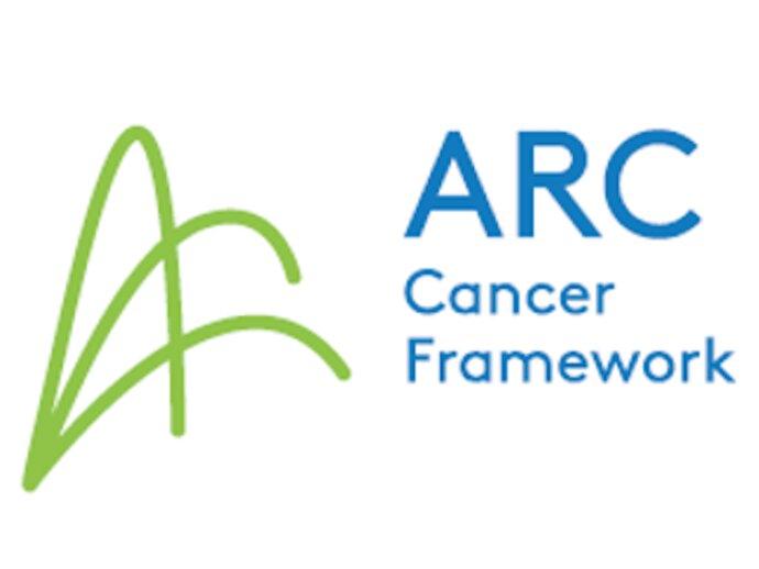 """ARC Cancer framework logo - three linked arches with """"ARC cancer framework"""" lettering next to them."""