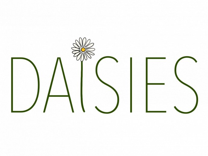 """Daisies logo - the letters spelling daisies, with a daisy as the """"I""""."""