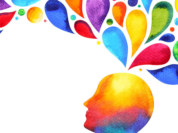 Painting of a head with colourful thought bubbles coming out the top