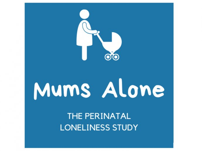 MUMS Alone study logo - drawing in white on a blue background of a person pushing a pram
