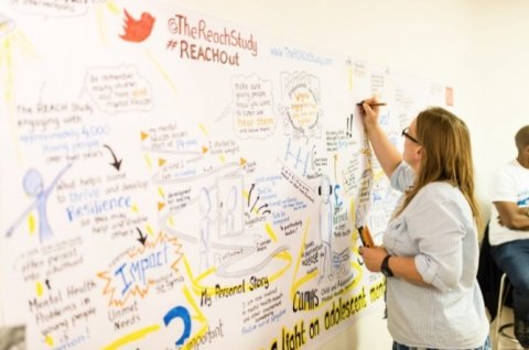 Woman writing on a big whiteboard diagram with text and diagrams talking about what the reach project involves