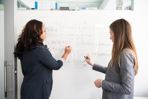 Two women drawing on a whiteboard