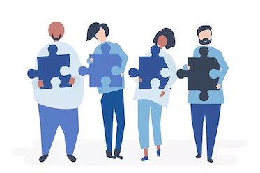 Graphic artwork of people holding jigsaw pieces