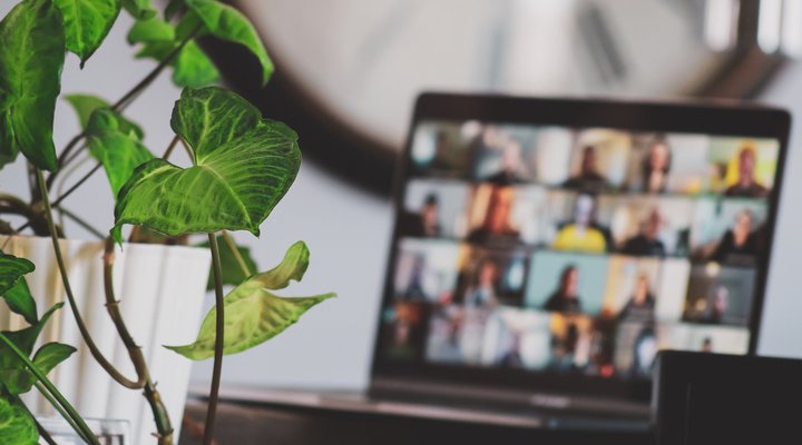 A laptop displaying an online meeting with many video attendees. A green plant sits next to the laptop.
